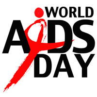 World AIDS Day logo in black and red